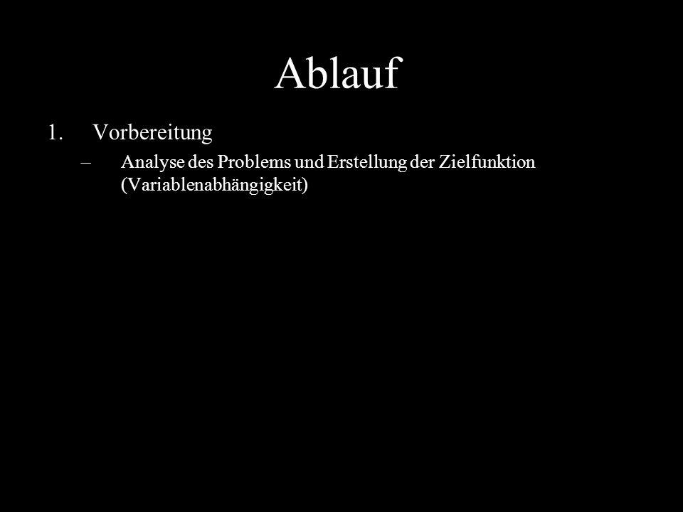 Ablauf Vorbereitung Analyse des Problems und Erstellung der Zielfunktion (Variablenabhängigkeit)