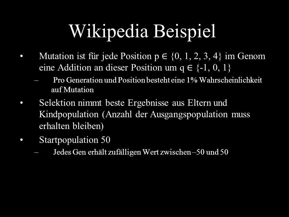 Wikipedia Beispiel Mutation ist für jede Position p ∈ {0, 1, 2, 3, 4} im Genom eine Addition an dieser Position um q ∈ {-1, 0, 1}