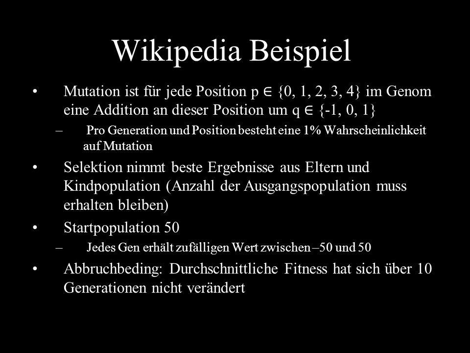 Wikipedia BeispielMutation ist für jede Position p ∈ {0, 1, 2, 3, 4} im Genom eine Addition an dieser Position um q ∈ {-1, 0, 1}