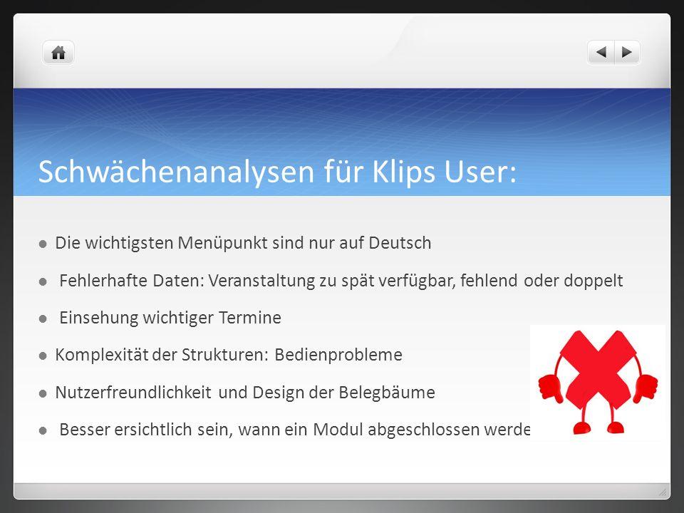 Schwächenanalysen für Klips User: