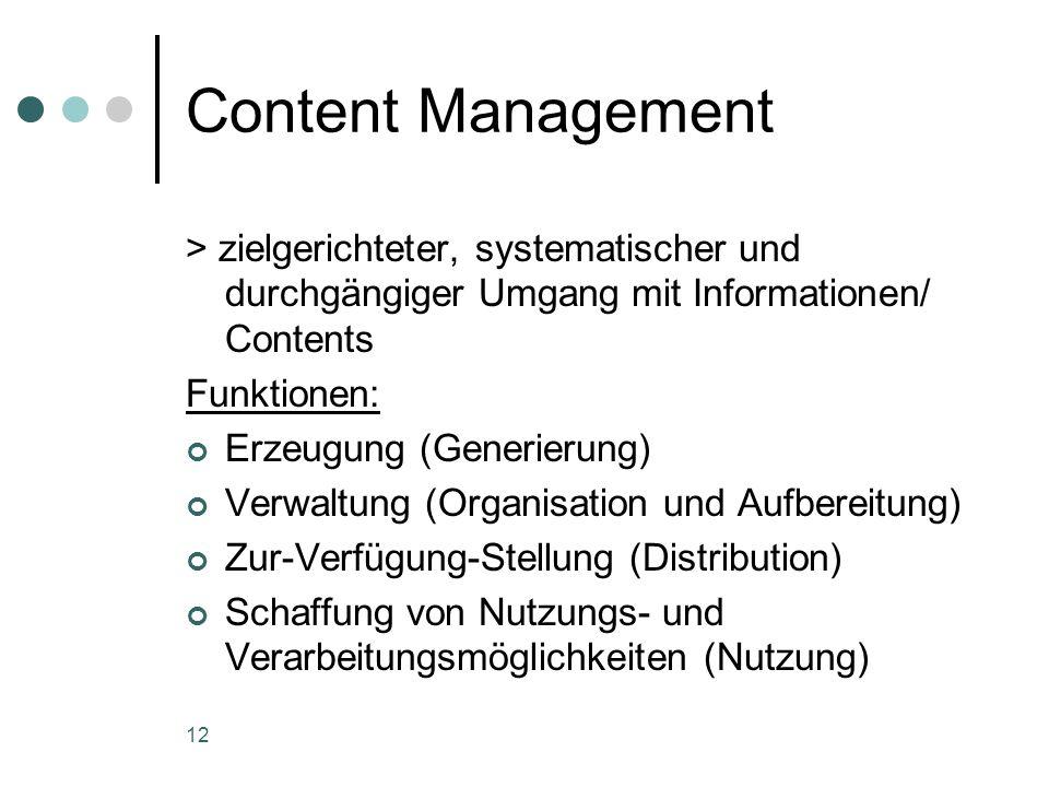 Content Management> zielgerichteter, systematischer und durchgängiger Umgang mit Informationen/ Contents.