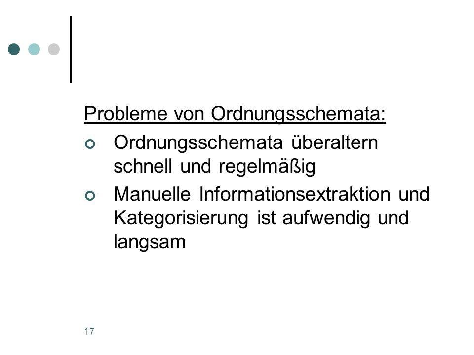 Probleme von Ordnungsschemata: