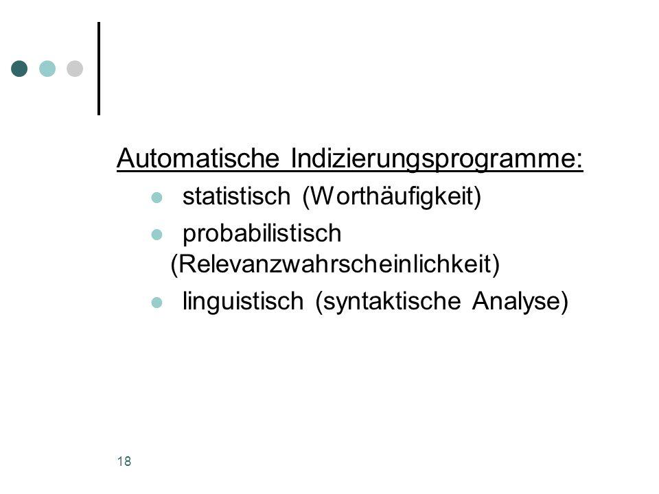 Automatische Indizierungsprogramme:
