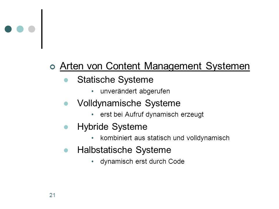 Arten von Content Management Systemen