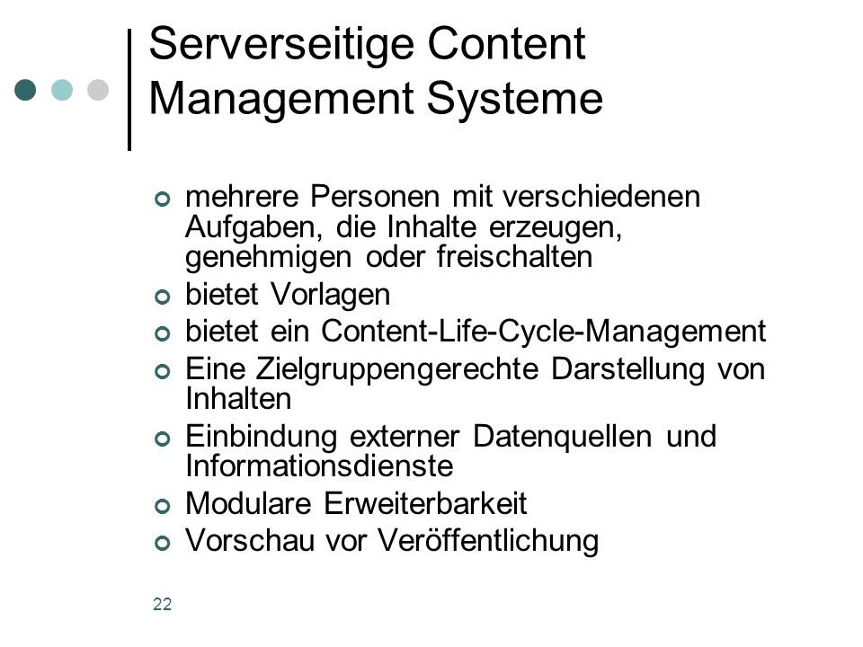 Serverseitige Content Management Systeme