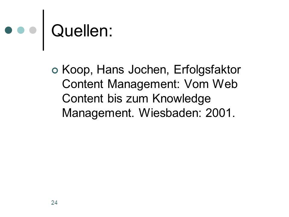 Quellen:Koop, Hans Jochen, Erfolgsfaktor Content Management: Vom Web Content bis zum Knowledge Management.