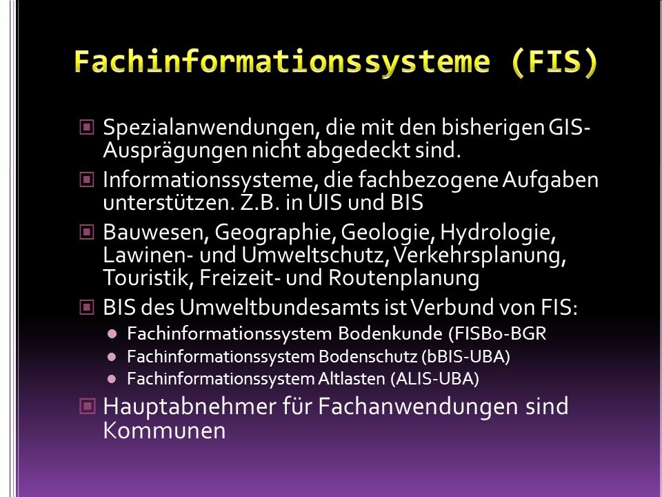 Fachinformationssysteme (FIS)