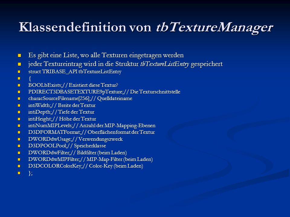Klassendefinition von tbTextureManager