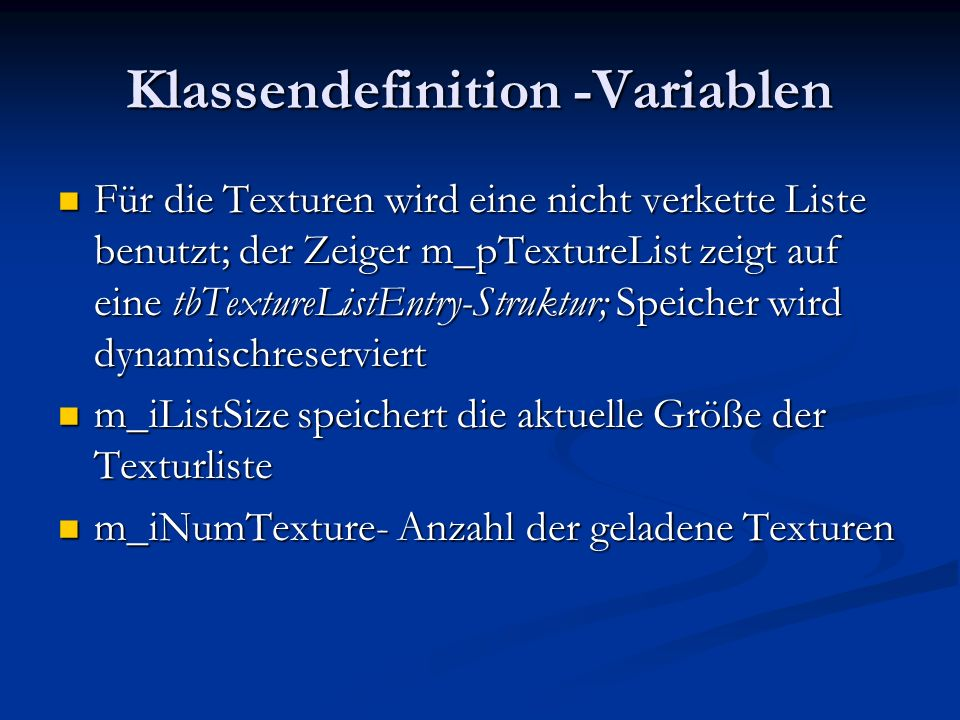 Klassendefinition -Variablen