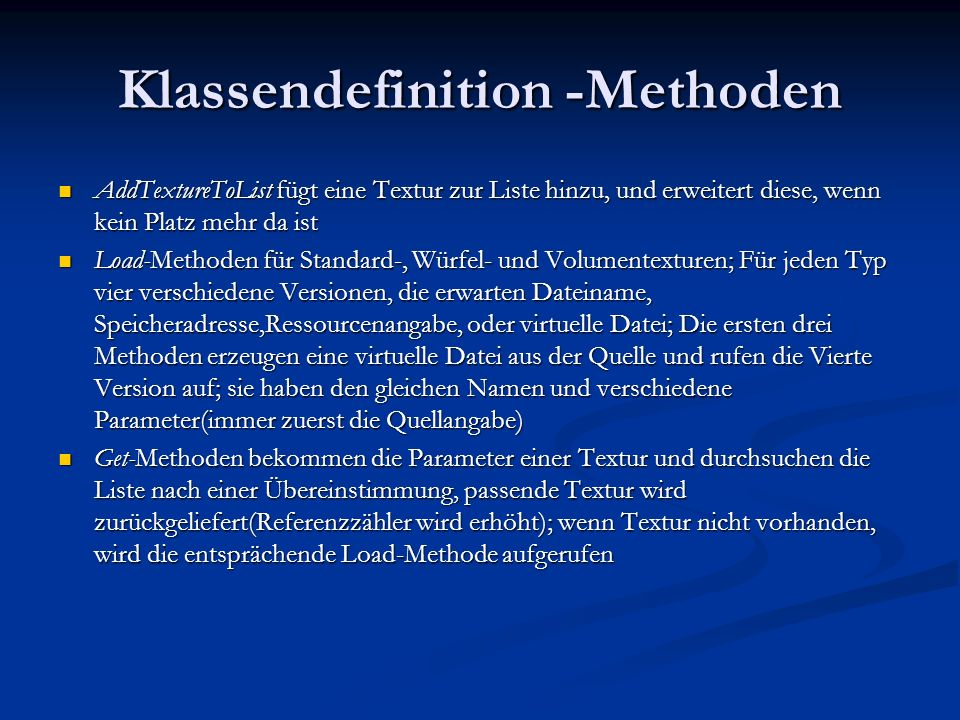 Klassendefinition -Methoden