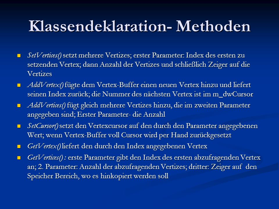 Klassendeklaration- Methoden