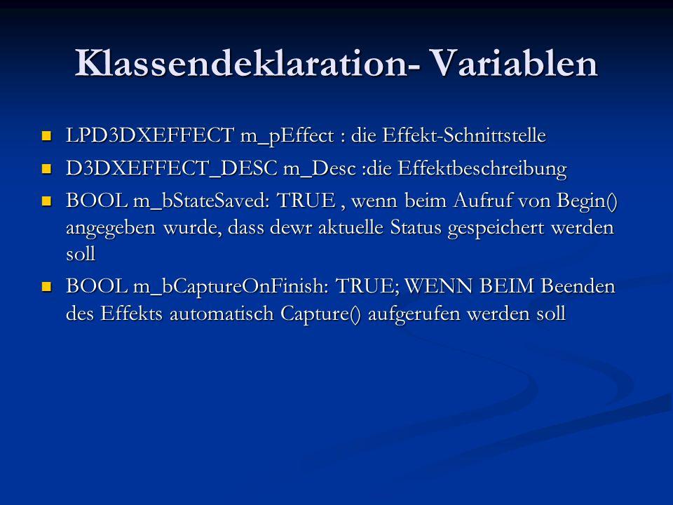 Klassendeklaration- Variablen