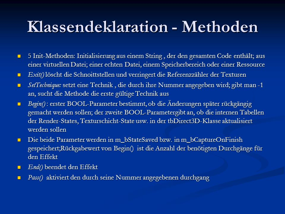 Klassendeklaration - Methoden