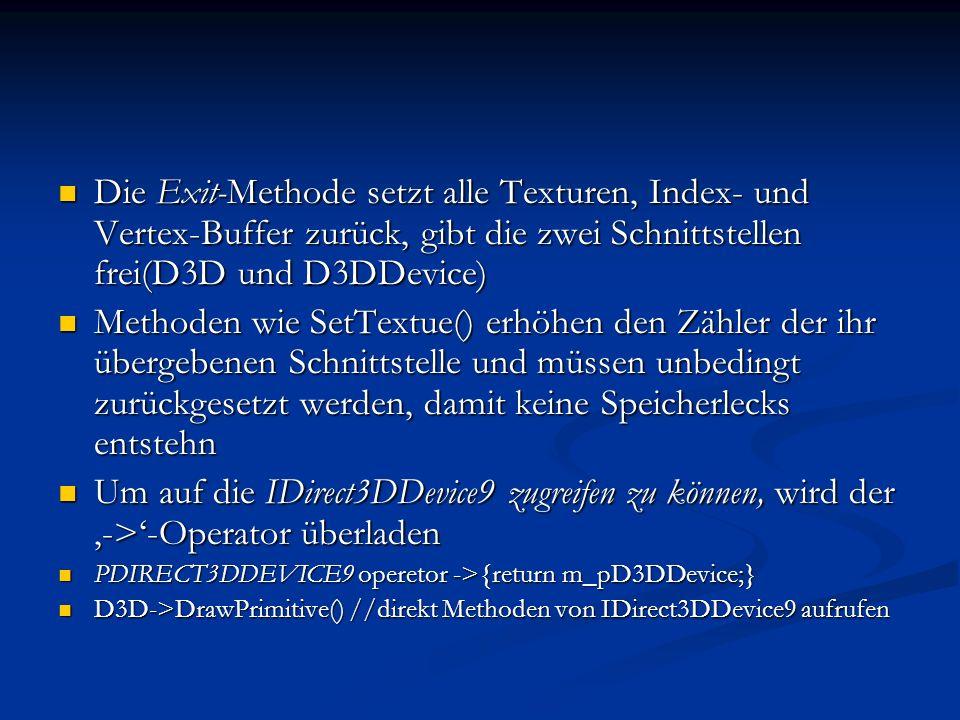 Die Exit-Methode setzt alle Texturen, Index- und Vertex-Buffer zurück, gibt die zwei Schnittstellen frei(D3D und D3DDevice)