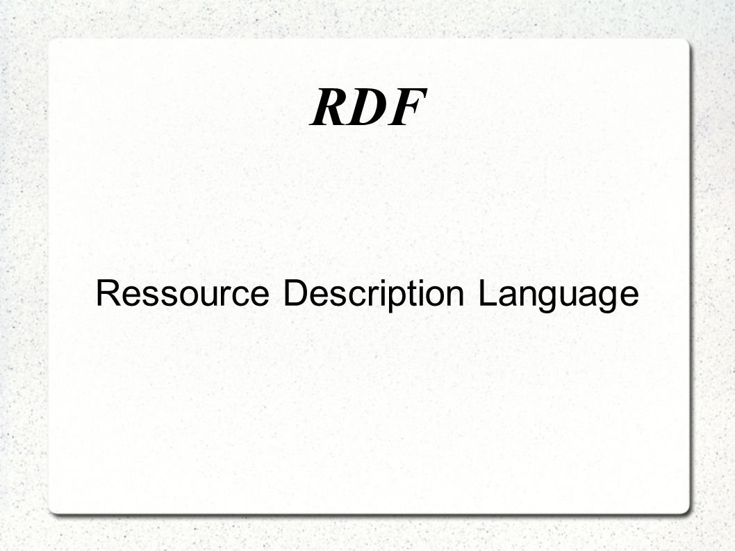 Ressource Description Language