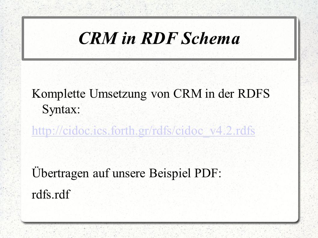 CRM in RDF Schema Komplette Umsetzung von CRM in der RDFS Syntax: