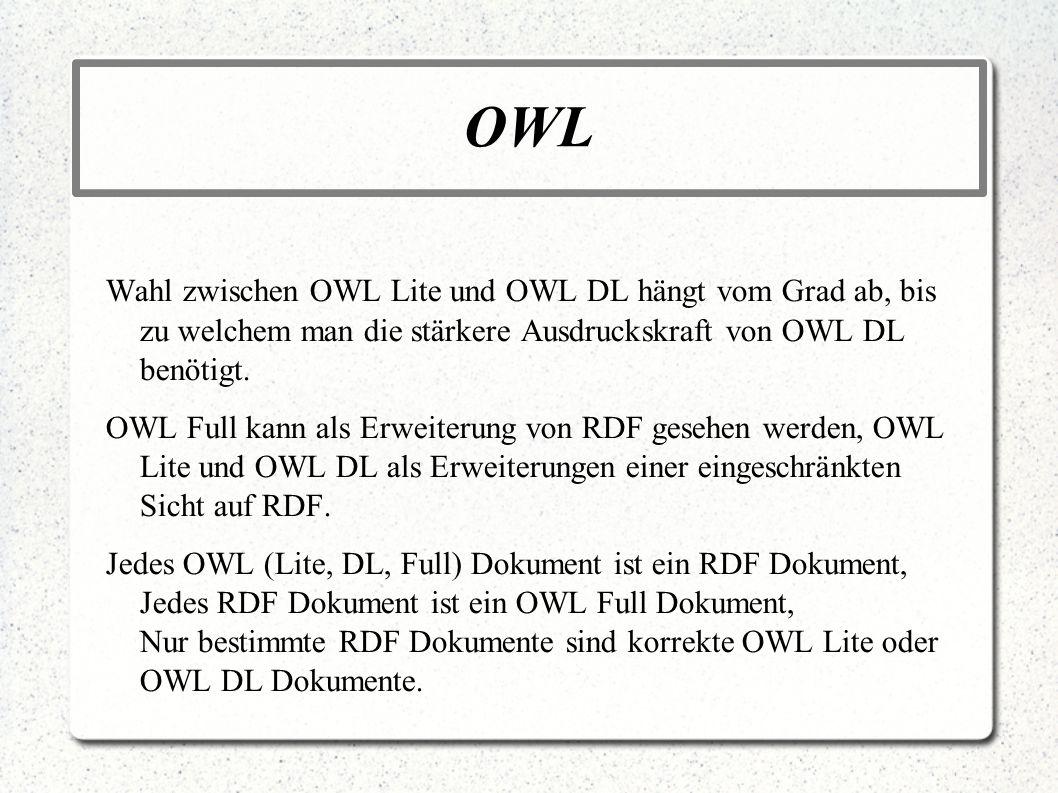 OWL Wahl zwischen OWL Lite und OWL DL hängt vom Grad ab, bis zu welchem man die stärkere Ausdruckskraft von OWL DL benötigt.