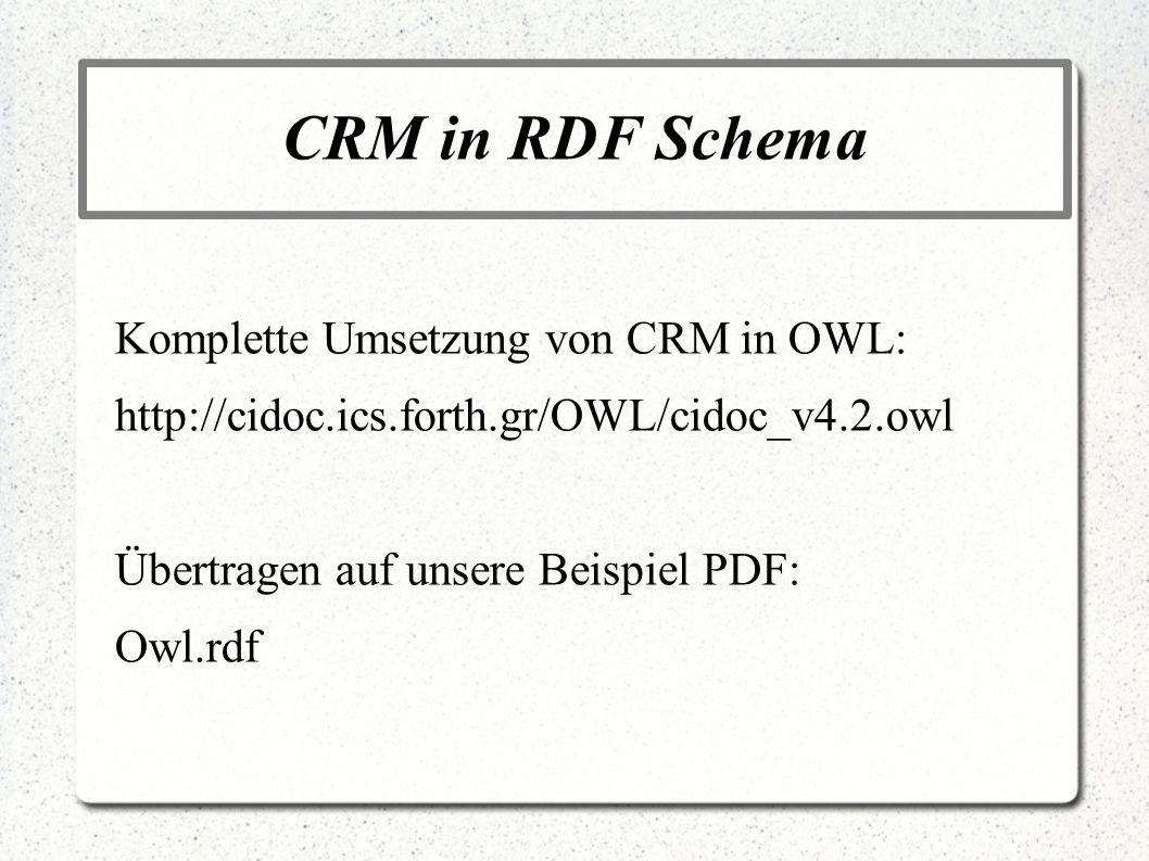 CRM in RDF Schema Komplette Umsetzung von CRM in OWL: