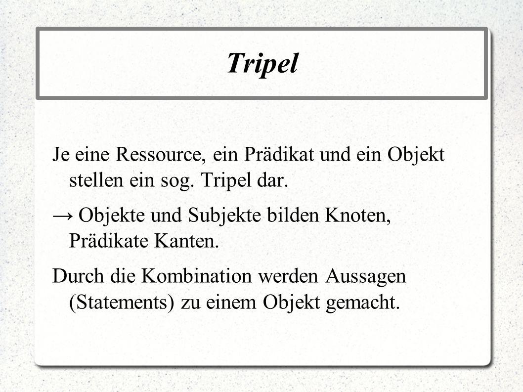 TripelJe eine Ressource, ein Prädikat und ein Objekt stellen ein sog. Tripel dar. → Objekte und Subjekte bilden Knoten, Prädikate Kanten.