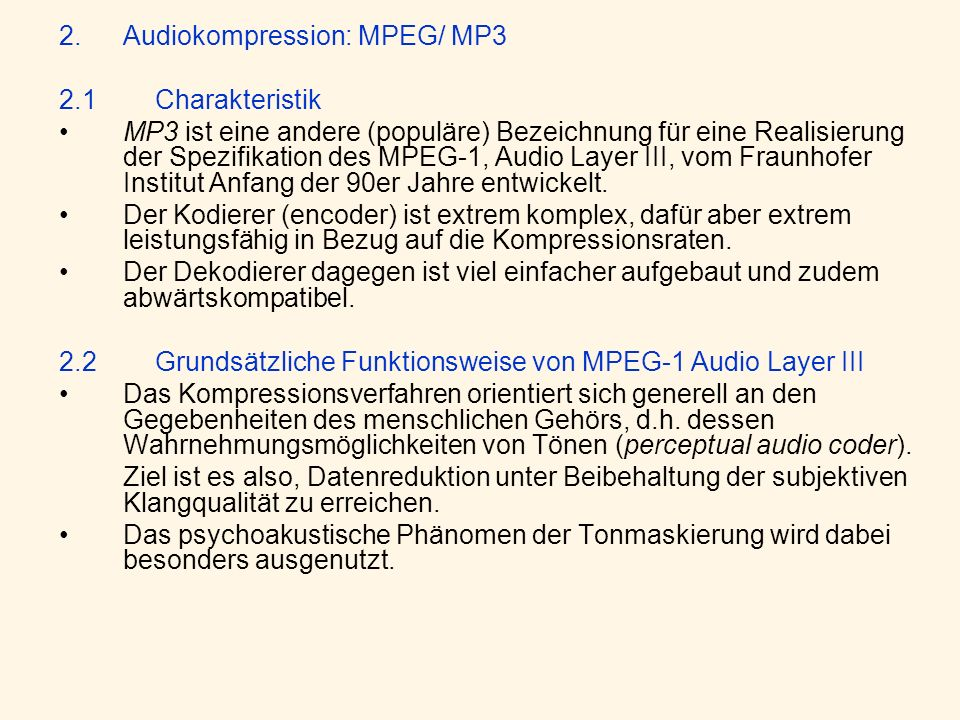 Audiokompression: MPEG/ MP3