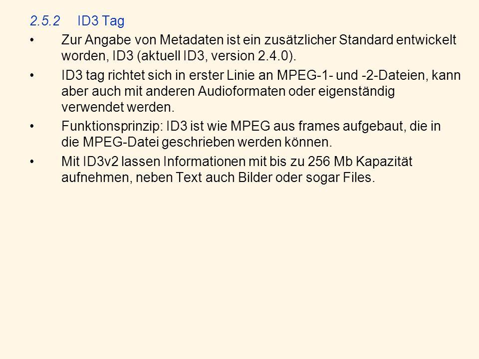 2.5.2 ID3 Tag Zur Angabe von Metadaten ist ein zusätzlicher Standard entwickelt worden, ID3 (aktuell ID3, version 2.4.0).