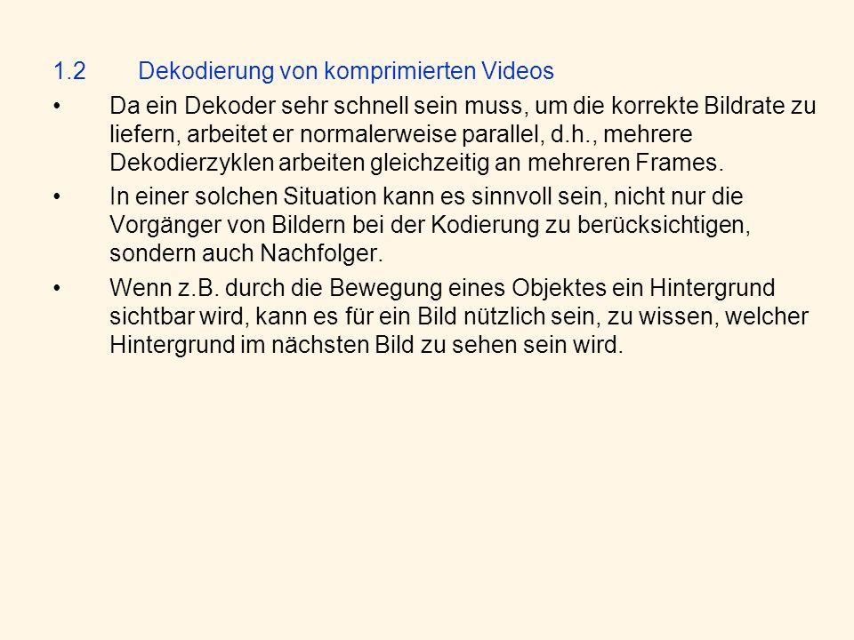 1.2 Dekodierung von komprimierten Videos