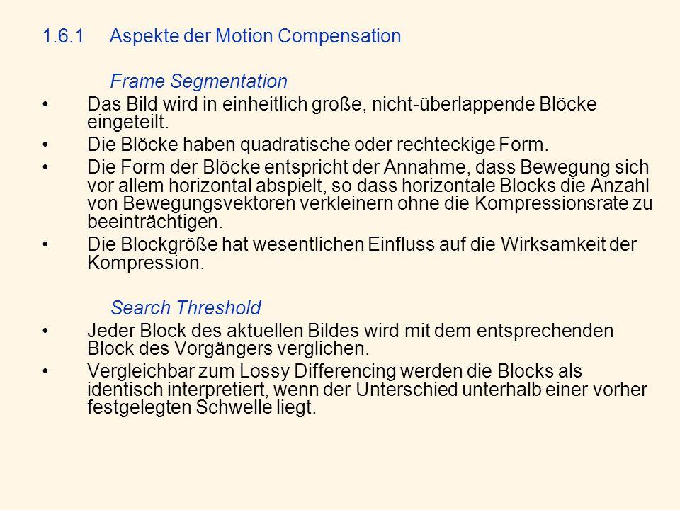 1.6.1 Aspekte der Motion Compensation