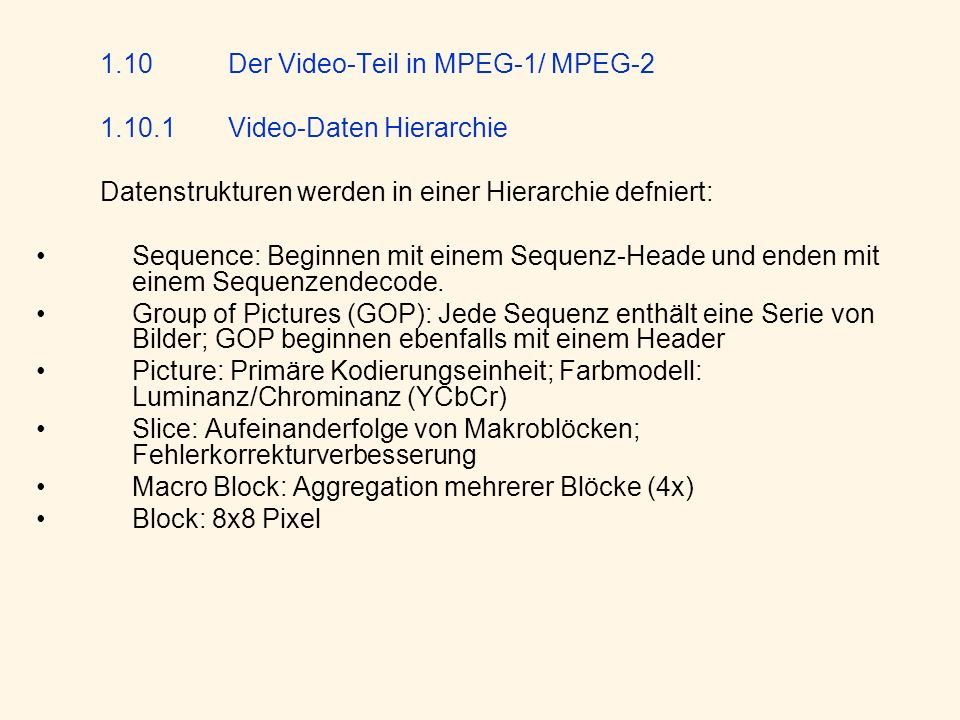 1.10.1 Video-Daten Hierarchie