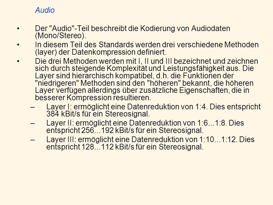 AudioDer Audio -Teil beschreibt die Kodierung von Audiodaten (Mono/Stereo).