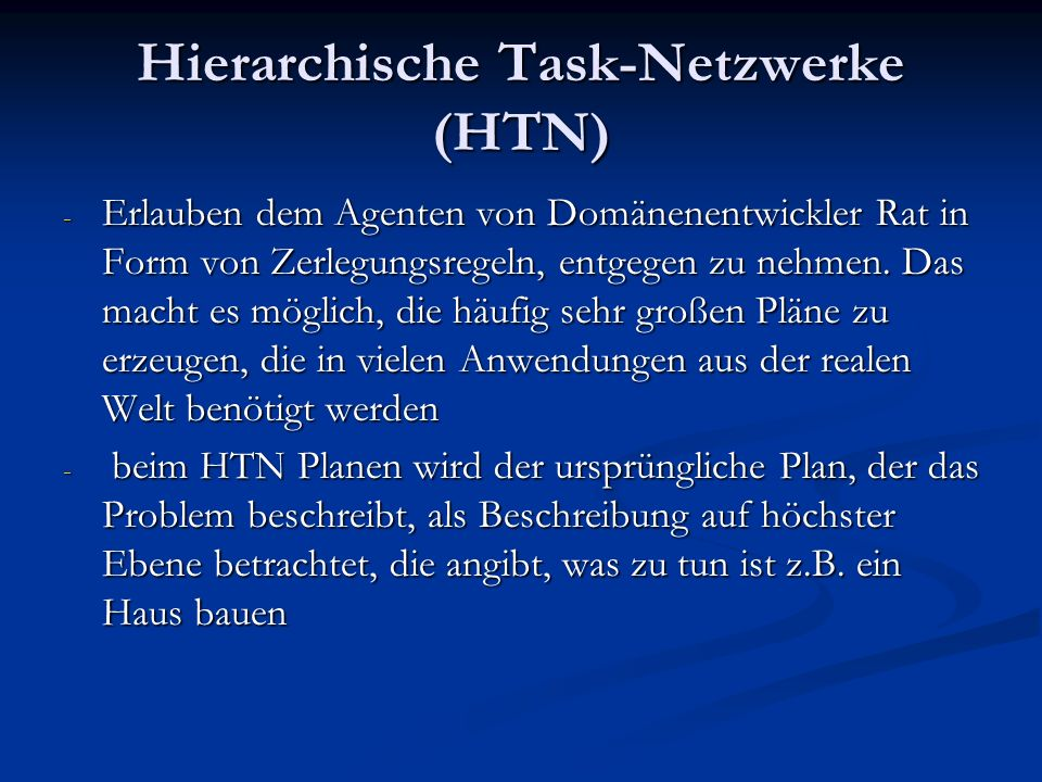 Hierarchische Task-Netzwerke (HTN)