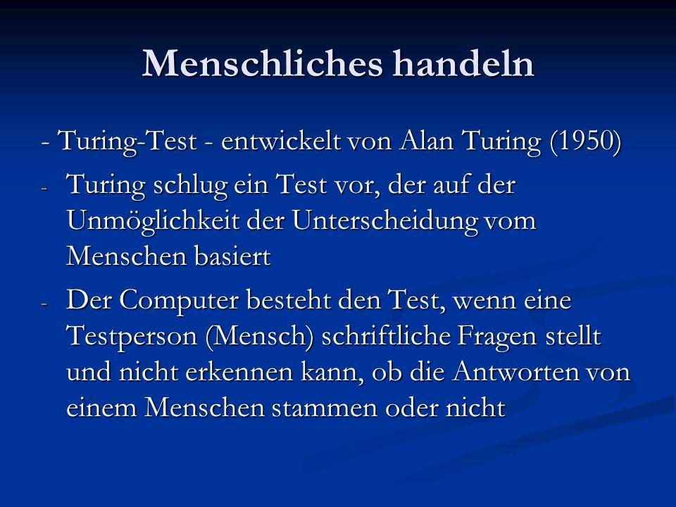 Menschliches handeln - Turing-Test - entwickelt von Alan Turing (1950)