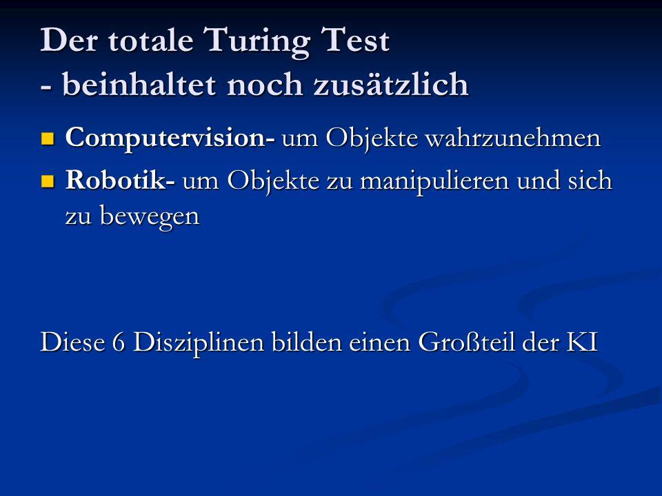 Der totale Turing Test - beinhaltet noch zusätzlich