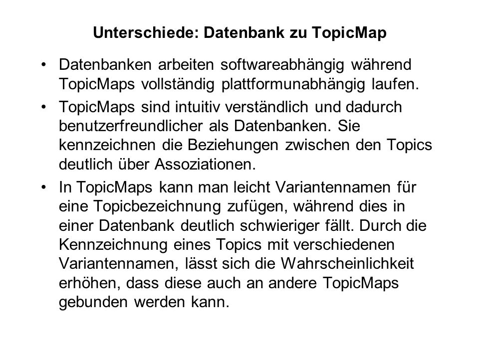 Unterschiede: Datenbank zu TopicMap