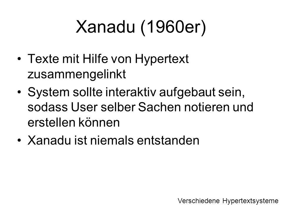 Xanadu (1960er) Texte mit Hilfe von Hypertext zusammengelinkt
