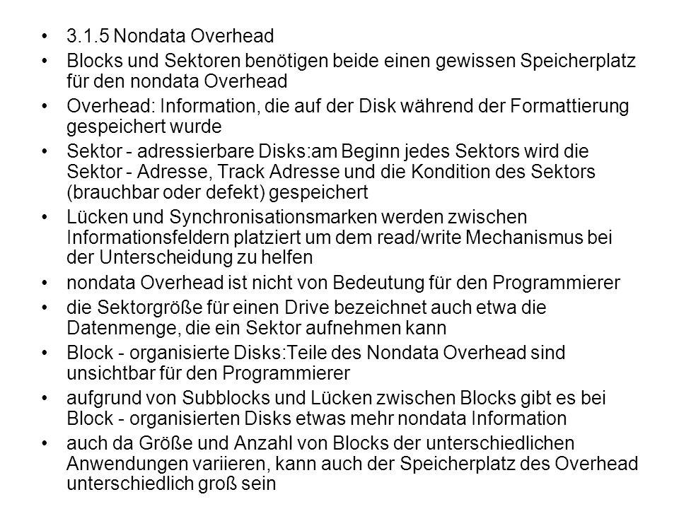 3.1.5 Nondata Overhead Blocks und Sektoren benötigen beide einen gewissen Speicherplatz für den nondata Overhead.