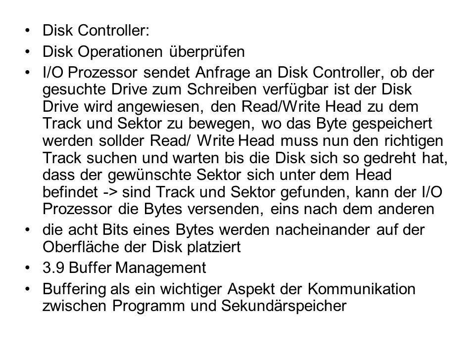 Disk Controller: Disk Operationen überprüfen.