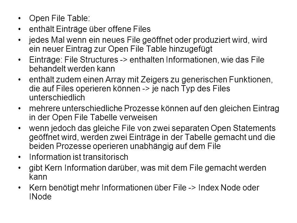Open File Table: enthält Einträge über offene Files.