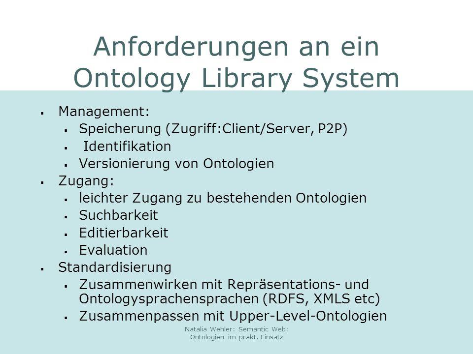 Anforderungen an ein Ontology Library System