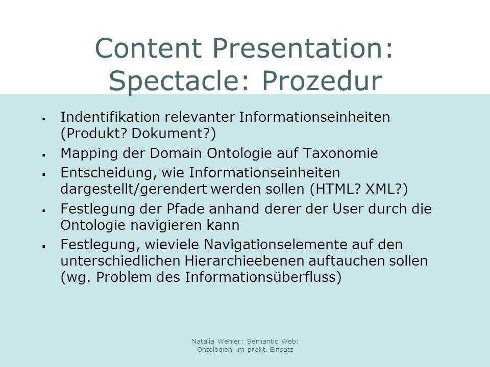 Content Presentation: Spectacle: Prozedur