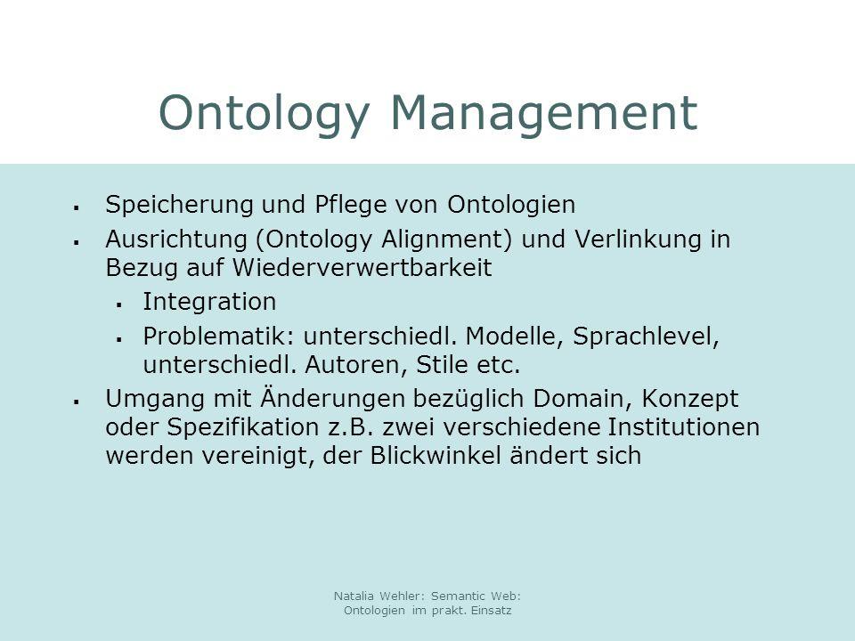 Natalia Wehler: Semantic Web: Ontologien im prakt. Einsatz