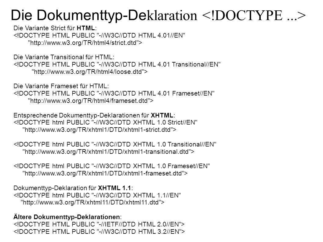 Die Dokumenttyp-Deklaration <!DOCTYPE ...>