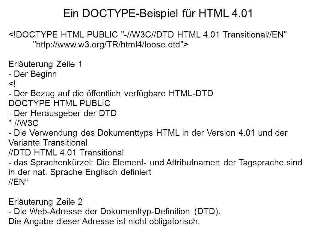 Ein DOCTYPE-Beispiel für HTML 4.01