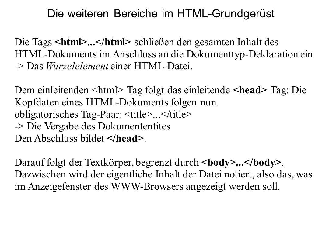 Die weiteren Bereiche im HTML-Grundgerüst