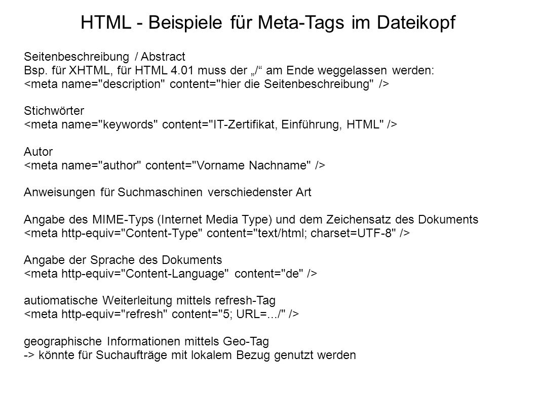 HTML - Beispiele für Meta-Tags im Dateikopf