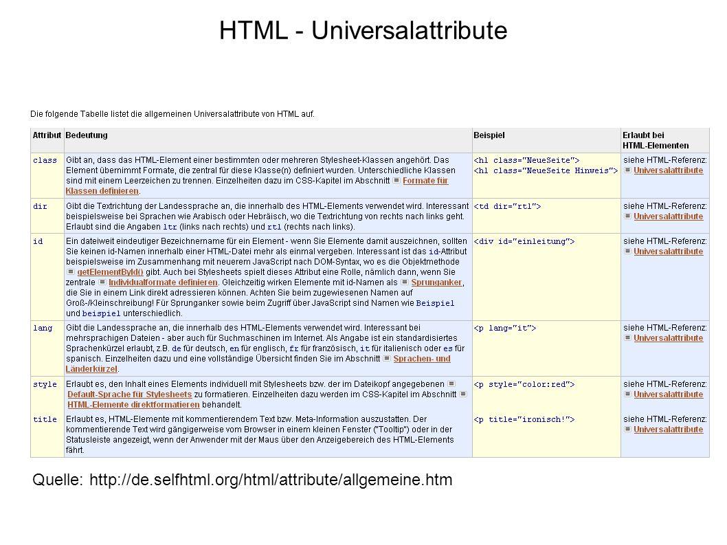 HTML - Universalattribute