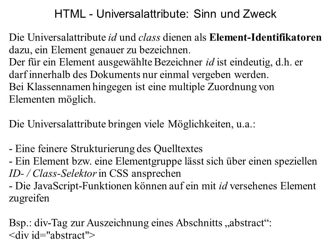 HTML - Universalattribute: Sinn und Zweck