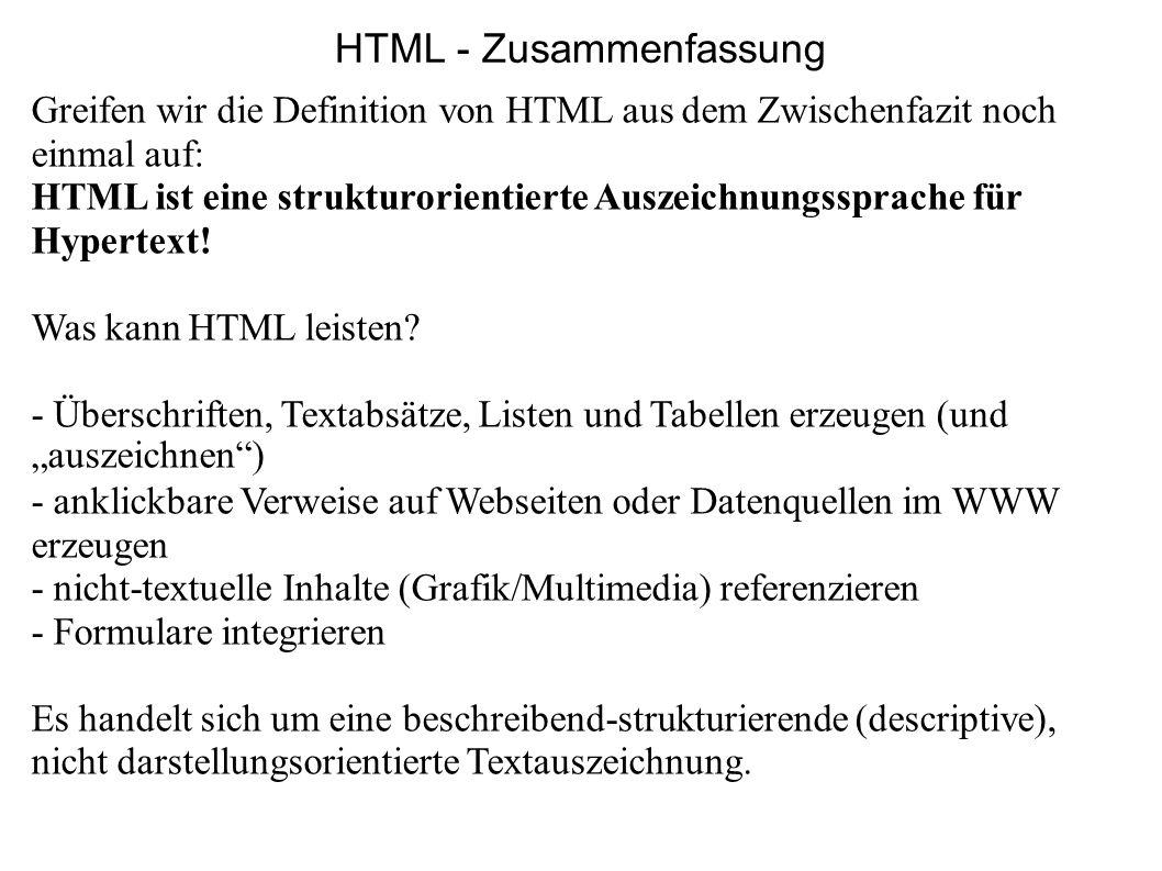 HTML - Zusammenfassung
