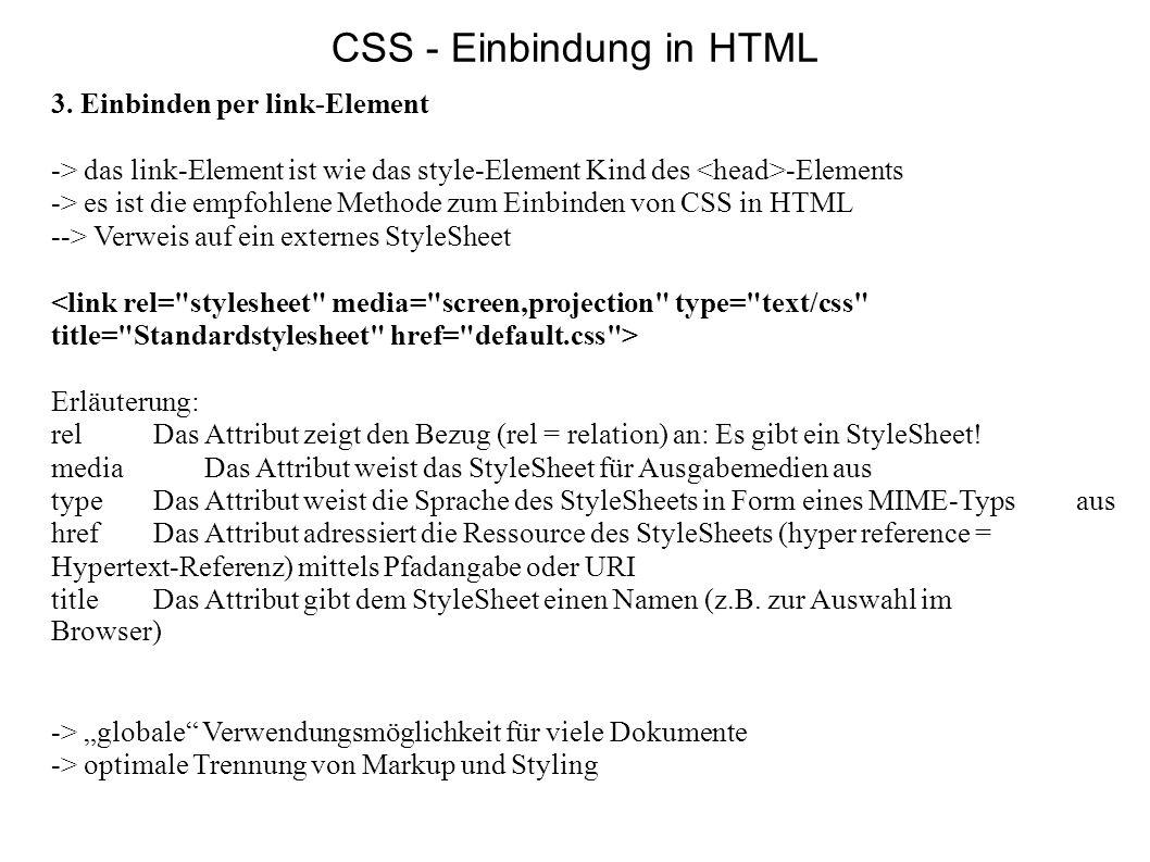 CSS - Einbindung in HTML
