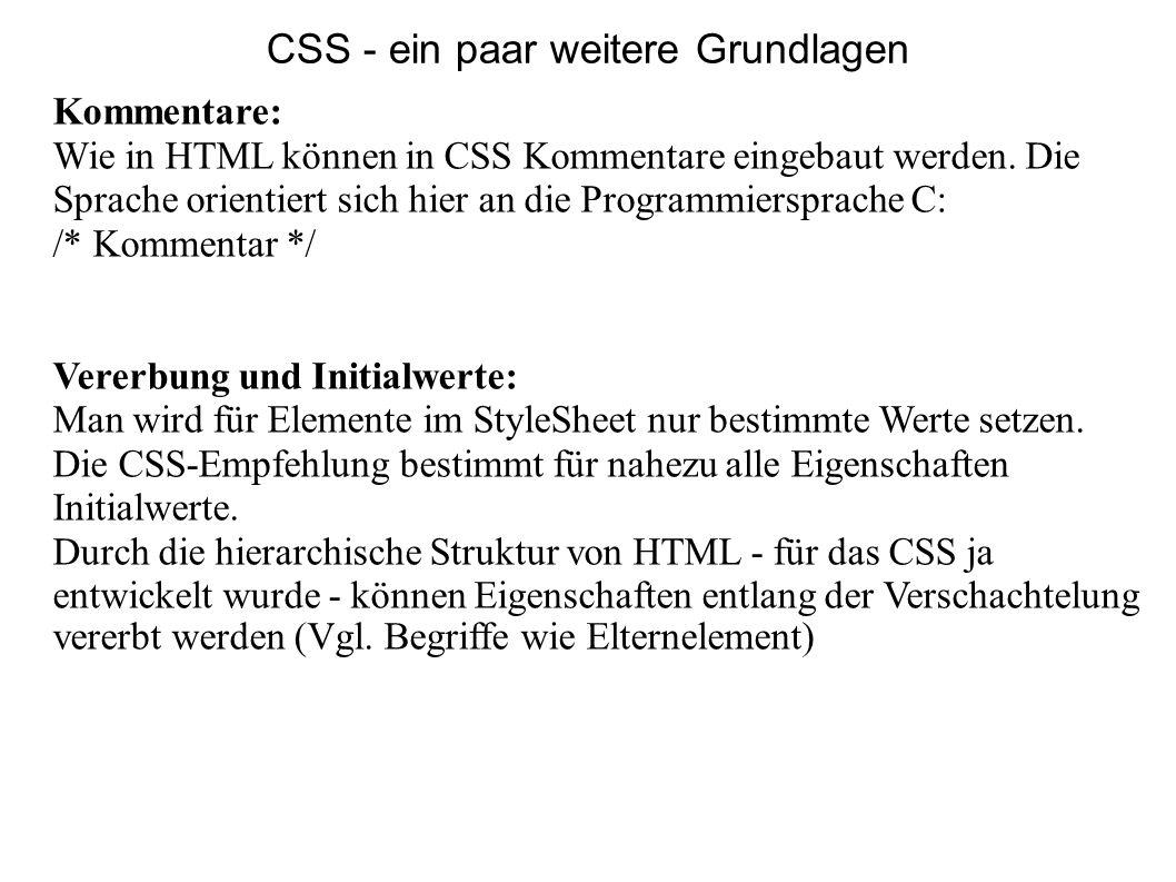CSS - ein paar weitere Grundlagen