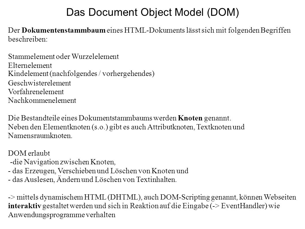 Das Document Object Model (DOM)‏